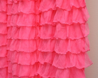 Pink Ruffle Bedskirt - Twin / Full / Queen / King Size Bed Skirt - Ruffle Bed Skirt - Pink Dust Ruffle - Long Bed Skirt - Ruffle Bedskirt