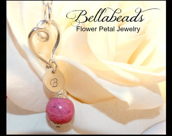 Sterling Silver Heart Keepsake, Dried flowers into beads, Memorial Beads, Pet loss jewelry, Bianca Heart and Charm Pendant