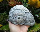 Dog Angel Statue - Bichon Frise Memorial - Solid Concrete