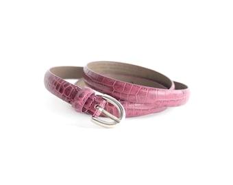 Vintage Embossed Leather Belt | Skinny Leather Belt | XL