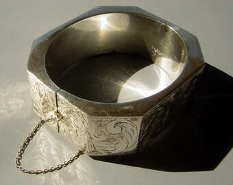 Large Victorian Bracelet Sterling Silver Vintage - Unique Octagonal - Hinged & Engraved 925 Marks