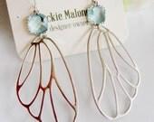 Aqua Butterfly Earrings, Silver Wing Dangles, Large Dangles, Insect Wings, Large Silver Earrings, Aquamarine Crystals