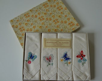 Vintage Irish Linen Butterflies Napkins Set of Four Hand Embroidered Stunning - EnglishPreserves