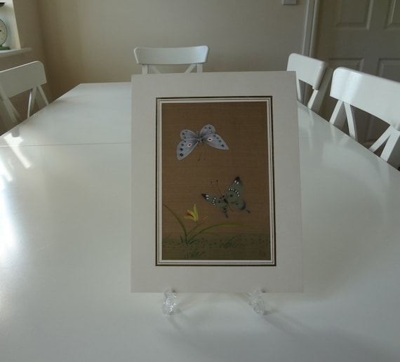 SALE - Butterfly Painting on Silk - Signed Vintage Hand Painted Asian Japanese - EnglishPreserves