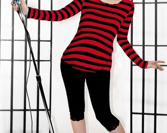 Maternity Striped Top Red and Black by MamaSan Maternity