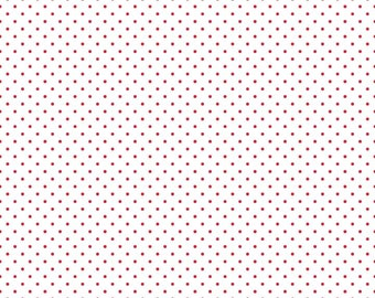 Riley Blake Designs, Swiss Dots Red on White  (C660 80)