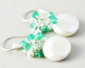 Coin Pearl Earrings, Pearl Dangle Earrings, June Birthstone, Emerald Green Cluster Earrings