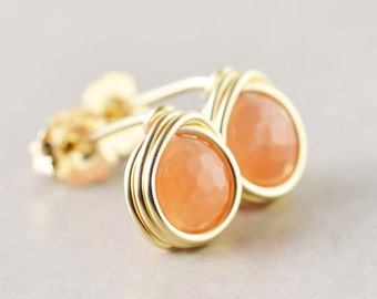 Sunstone Post Earrings, Peach Studs, Gold Wire Wrap, Handmade