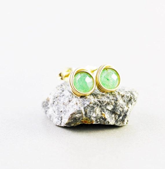 Aventurine Studs, Green Post Earrings, Green Studs, Stone Posts
