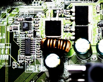 Green and Copper Computer Technology photography Wall Art Room Decor - Green Circuit Board Fine Art Photograph