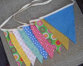 Ready to ship Polka Dot Party fabric flag banner teacher classroom nursery party outdoor bunting
