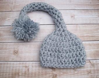 Crochet Baby Hat, Crochet Baby Boy Hat, Crochet Baby Stocking Hat, Boy Newborn Hat, Crochet Infant Hat, Baby Elf Hat, Photo Prop, Blue