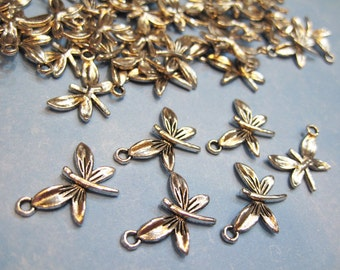 6 Silver Plated Pewter Dragonfly Charms 15mm x 20mm