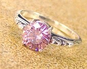 7mm Pink Cubic Zirconia Sterling Silver Ring, Cavalier Creations