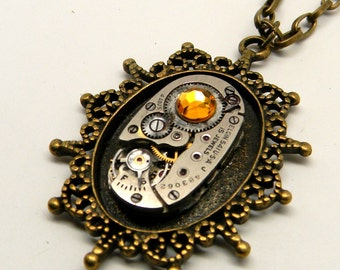 Steampunk jewelry. Steampunk watch  necklace pendant.