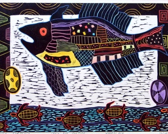 "Woodblok print "" Fish And Turtles "". Hand pulled woodblock print. Printmaking."