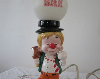 Bar Light Drunk Clown Figurine Porcelain Man & Plastic Globe Reads 'PUB' Man Cave Home Bar Barware / Party Decor Shabby Chic Kitsch Decor