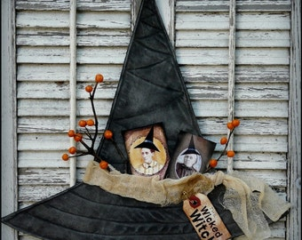 Prim HAlloWeen Witch Hat pattern - PDF fall primitive spooky collage sheet tags easy wall hanging hanger