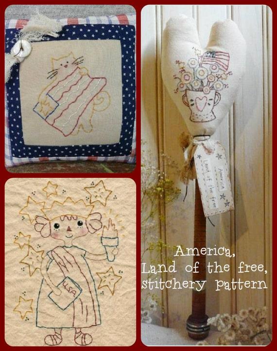 America Lady Liberty Stitchery PDF Pattern 3 in 1 - old bobbin  kitty cat patriotic