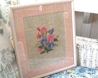 Vintage Crewel Embroidery pink and lavender blue sweet peas in painted wood frame