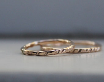 Narrow Hammered 14k Gold Filled Wedding Ring Set