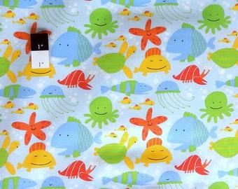 David Walker PWDW071 Beach Fish Coast Cotton Fabric 1 Yd