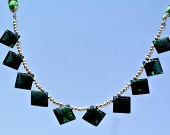 AAA Chrome Green Quartz Concave Cut Square Briolettes Size 9.5x9.5mm approx 10 Pcs 5 Mached Pair