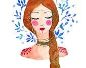 Red hair goddess. Art print. Art illustration