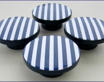Kids Knobs - Drawer Pulls - Nautical Knobs - Nautical Stripe Knobs - Navy Blue - 2 Inch Wood Knobs - Dresser Drawer Pulls