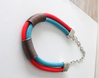 Red turquoise tribal statement necklace, colorful necklace