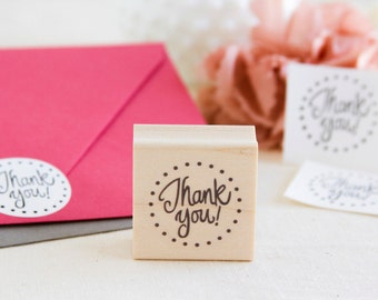 Thank You Circle Rubber Stamp - Perfect for Labels Packaging Cardmaking Wedding Projects - Fun Handmade Design with Dot Border