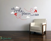 Oh The Places You'll Go Planes Clouds - Nursery or Bedroom Decor Ideas - Vinyl Wall Art Words Decals Graphics Stickers Decals 1691