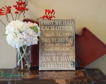 First We Had Each Other Then We Had You - Custom Sign - Quote Saying Distressed Wooden Sign - Wood Sign - Family Sign - Wall Art - Wood Art