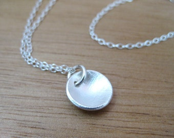 Recycled Silver Circle Necklace Brushed Texture Everyday Necklace Minimalist Necklace Eco Friendly Jewelry Layering Necklace - Seed Pod