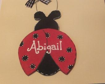 Girl's Ladybug Wall Hanging - Personalized