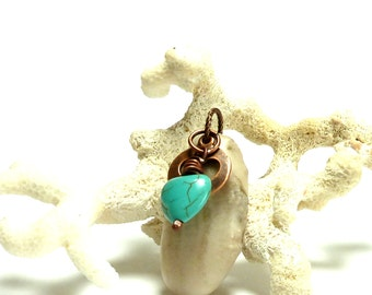 Genuine Drilled Beach Stone and Turquoise MOTHER Heart Beach Pebble River Rock Charm Cutout Copper White Fossil Pendant Natural Stone