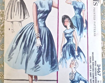 Vintage 1950s Womens Full Skirt Dress Pattern with Detachable Collar, Jabot, and Removable Guimpe -McCalls 3467