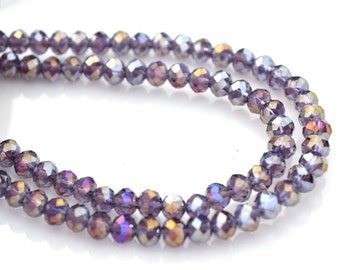 Amethyst SIlver 4mm Rondelle Crystal Beads   20