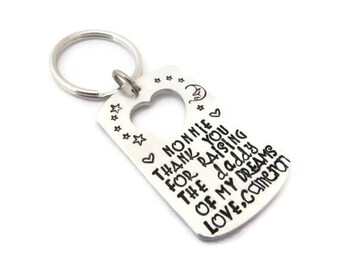 Hand Stamped Personalized Silver Heart Cutout Dog Tag Keychain - Thank you for raising the (person) of my dreams