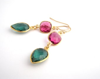 Pink And Green Tourmaline Crystal Earrings, Raspberry Pink, Teal Green, Dangle Earrings