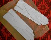 Vintage Unworn French Ladies White Leather Gloves 7.5 Super Soft