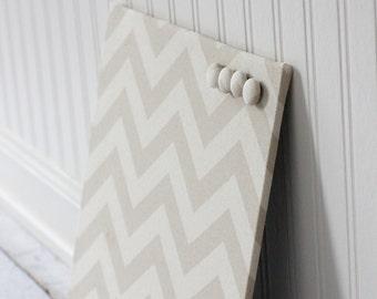 Beige Chevron Fabric covered magnet board 12 inch x 12 inch covered in