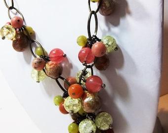 Autumn Jasper and sumptuous cluster necklace set