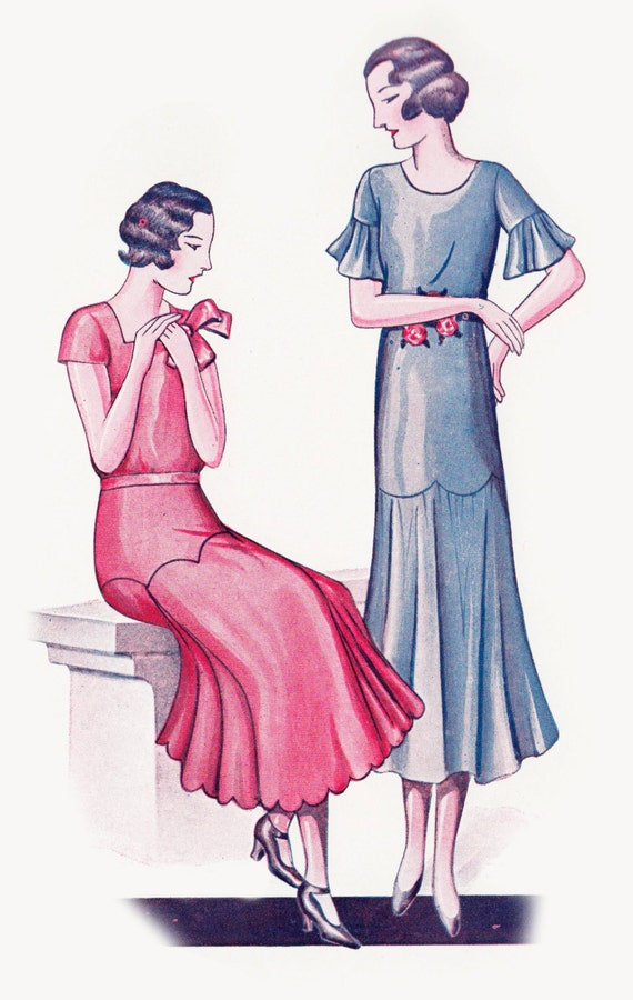 1930s Dresses, Clothing & Patterns Links 1930s Vintage Sewing Pattern 1920s 1930s Dress in Any Size - Plus Size- Draft at Home Pattern Depew F-310 -INSTANT DOWNLOAD- $8.50 AT vintagedancer.com