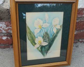 Ted Mundorff Signed Vintage Hawaiiana Print WHITE GINGER in Original Wooden