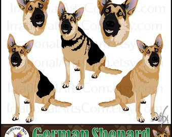 German Shepard Dog Graphics set 1 with 5 digital graphics [INSTANT DOWNLOAD]