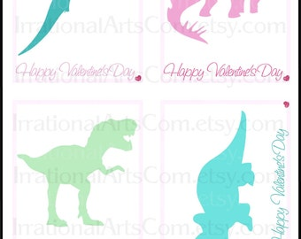 Valentines Day Cards Dinosaur Sillhouettes Set 1 GIRLS - Kids class exchange DIY Printing pink, green and teal Jpg & Pdf{Instant Download}