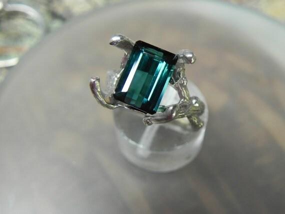 3.0 Carat Indicolite Teal Tourmaline 14K gold Elke Twig ring Reserved for Patti