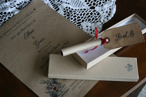 Diy Scroll Wedding Invitations: Alice In Wonderland INVITATION WEDDING By PinkCherryMama
