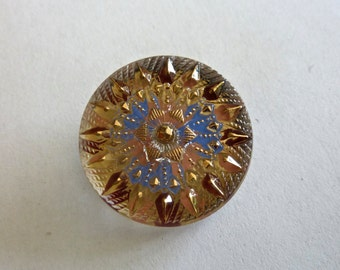 Vintage Czech Clear with Jonquil, Maroon, Blue Round Glass Button - Starburst Design -  22.7mm (1)